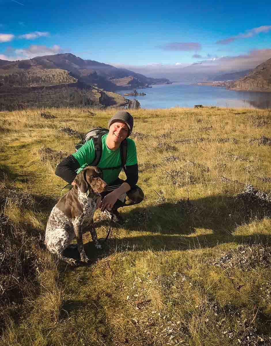 James Williams, the new president for Columbia River Gorge PF, poses with his upland hunting companion near their home in Hood River, Oregon. (Photo/Pheasants Forever)