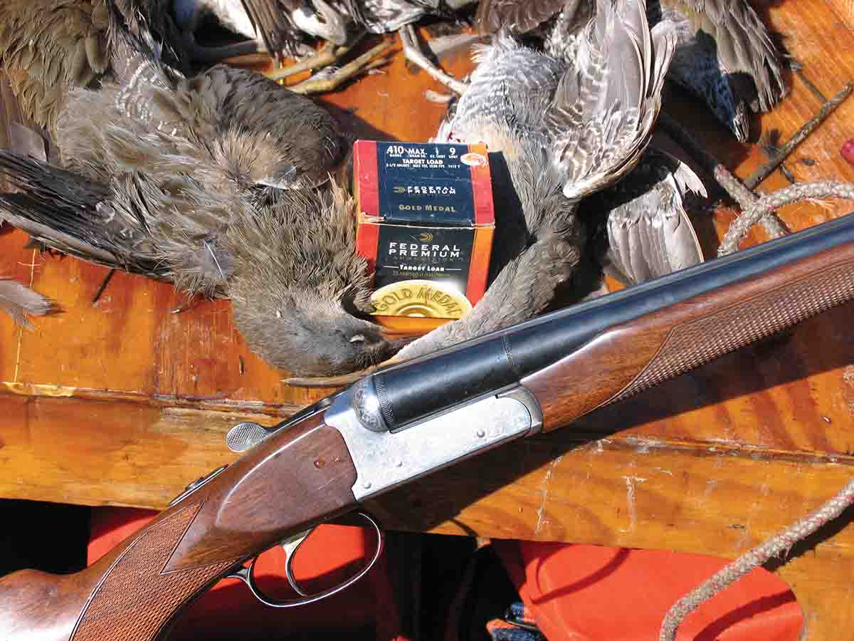 Rails are fragile birds that are easy marks for light loads of fine steel shot, such as these no. 9 loads shot through the Fausti .410.