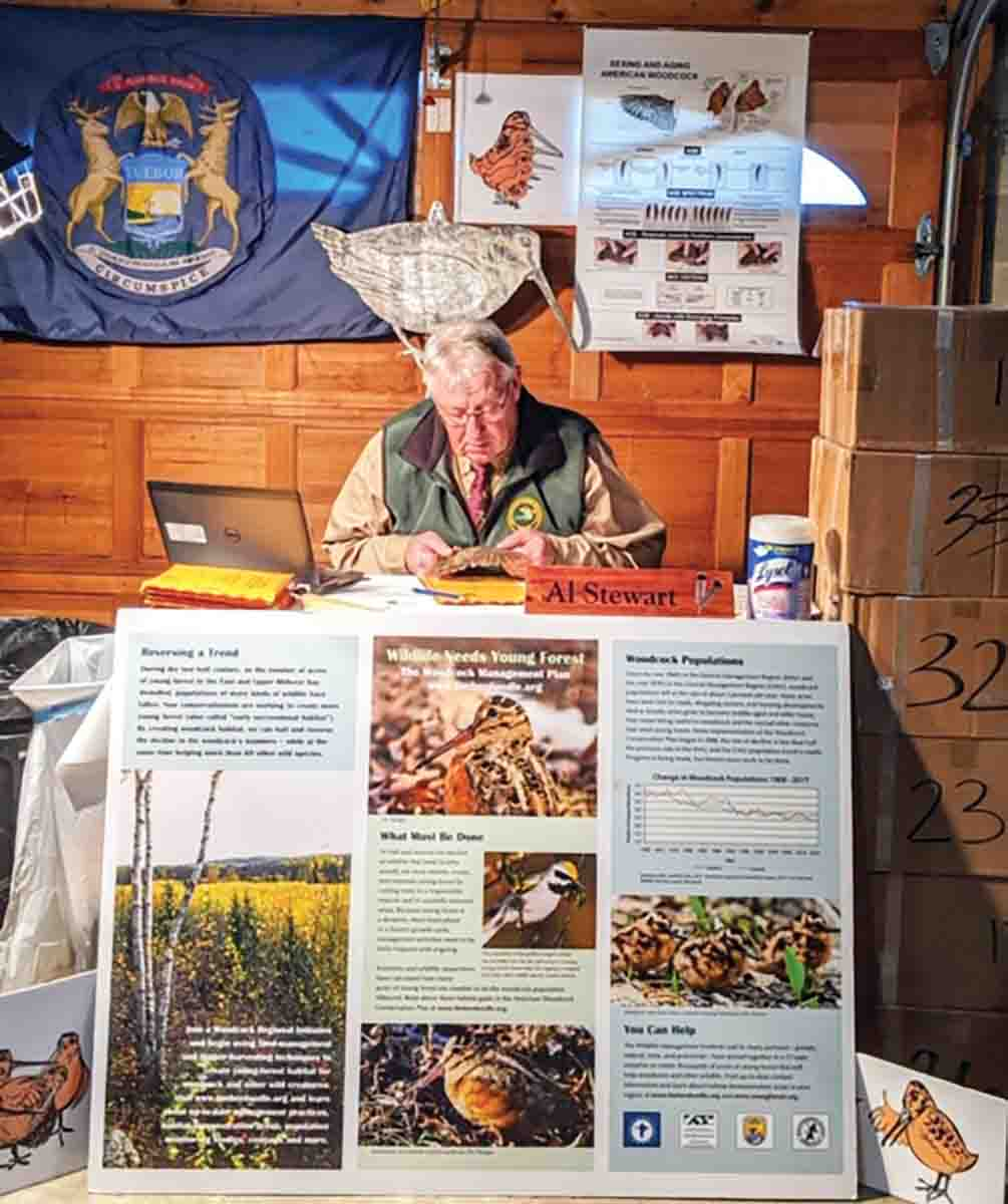 "Like the lonely Maytag repairman, Michigan biologist Al Stewart assesses his share of woodcock wings sent by the U.S. Fish and Wildlife Service. ""I received a bunch of boxes with thousands of wings to examine. Fun times that are keeping me busy in my home office,"" he said. (Photo/Michigan Department of Natural Resources)"